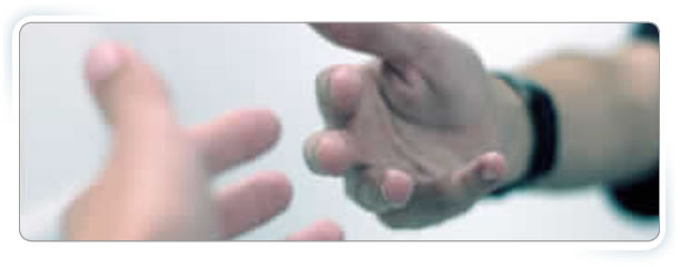 Home Page banner - one hand reaching out for another