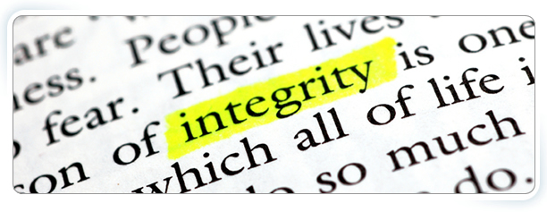 Our Values banner - the word 'integrity' highlighted in a selection of text